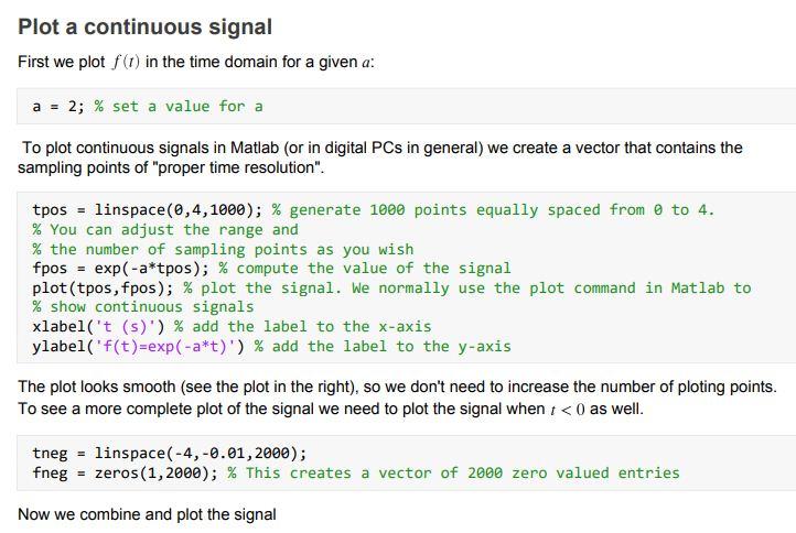 plot a continuous signal