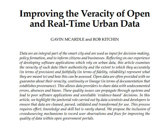 Improving the Veracity of Open and real-time urban data