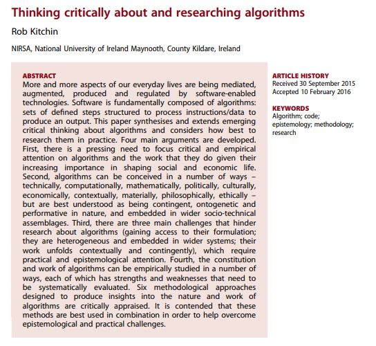 Thinking critically about and researching algorithms