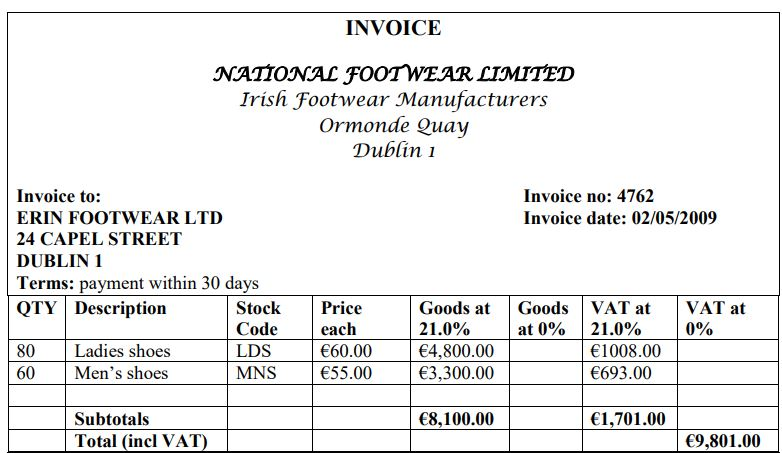 10. On 2nd May Erin Footwear received an invoice
